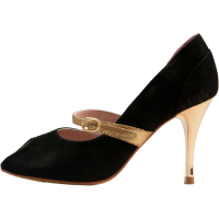 Mary jane in black suede with gold strap