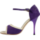 Pump in purple suede with cream borders