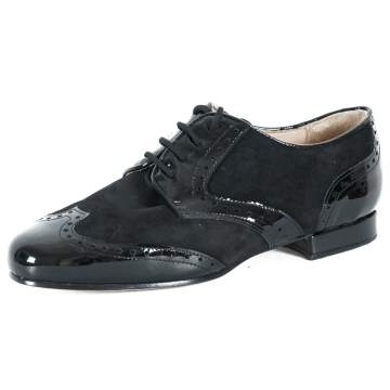 DERBY OXFORD - vernice/camoscio nero