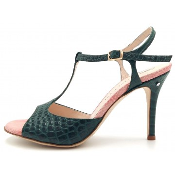FEDRA croc printed leather green and pink