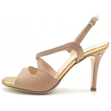 GIOIA - Nut/gold leather