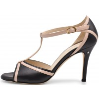 OLIVIA - black leather with pink patent leather